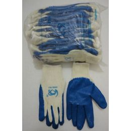 30 Units of Blue Latex Dipped Work Gloves - Working Gloves