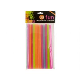 72 Units of 36 Piece 9 Inch Neon Wide Straws - Party Paper Goods
