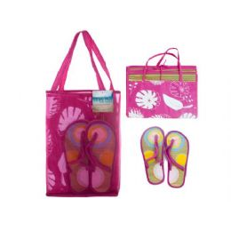 6 Units of straw mat w/sandals in carry bag assorted colors - Beach Toys