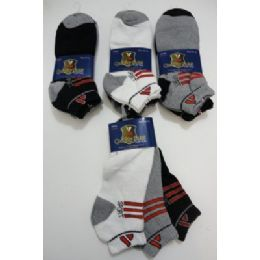 48 Units of SPORT Anklets-Thick 10-13-BLK/GRY/WHITE--Red Lines - Mens Ankle Sock