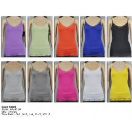 144 Units of Ladies Lace White Color Only Tank Top - Womens Camisoles & Tank Tops