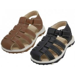 24 Units of Boy's Velcro Sandals - Boys Flip Flops & Sandals