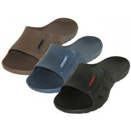 36 Units of Men's Sport Slide Sandals ( *asst. Black, Navy & Brown ) - Men's Flip Flops and Sandals