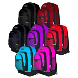 "24 Units of 18"" Backpacks with Mesh Pockets in 7 Assorted Colors - School and Office Supply Gear"