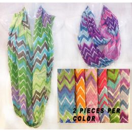 144 Units of Infinity Circle Scarves Chevron Print Assorted Colors - Womens Fashion Scarves