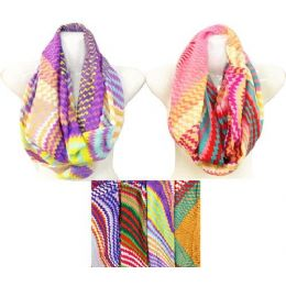 24 Units of Light Weight MultI-Color Chevron Print Infinity Scarves - Womens Fashion Scarves