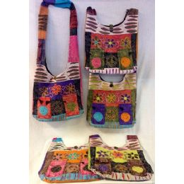 10 Units of Handmade Nepal Hobo Bags 3 Flowers 2 Pockets Design