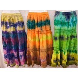 12 Units of Maxi Skirt Tie Dye Color Adjustable Waist Tie Assorted - Womens Skirts