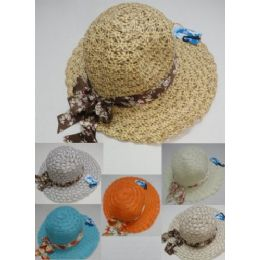 48 Units of Ladies Summer Hat With Printed Bow - Sun Hats