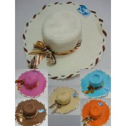 48 Units of Ladies Summer Hat With Striped Bow - Sun Hats