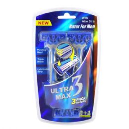24 Units of Ultra Max Razor 3 Pack Blue Men - Shower Accessories