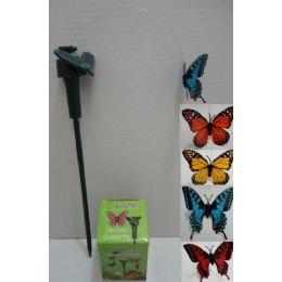 24 Units of Solar Yard Stake in Assorted Colors [Butterfly] - Garden Decor