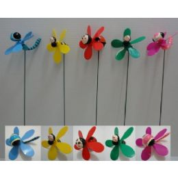 144 Units of Yard Stake w Pinwheel [Bug Assortment] - Garden Decor