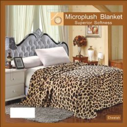 12 Units of Cheetah Animal Print Microplush Blanket In Queen - Micro Plush Blankets