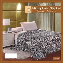 12 Units of Chincilla Animal Print Microplush Blankets In King - Micro Plush Blankets