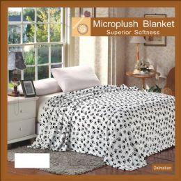 12 Units of Dalmatian Animal Print Microplush Blankets In Queen - Micro Plush Blankets