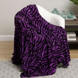 12 Units of purple animal print microplush blanket in twin - Micro Plush Blankets