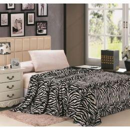 12 Units of zebra black and white microplush animal print blanket in queen - Micro Plush Blankets