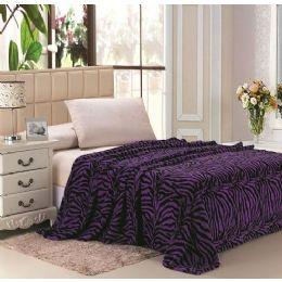 12 Units of zebra purple microplush animal print blanket in queen - Micro Plush Blankets