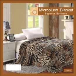 12 Units of assorted animal print microplush blanket in king - Micro Plush Blankets