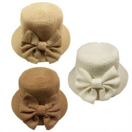 24 Units of Ladies Summer Hat With Bow Assorted - Sun Hats