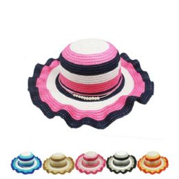 72 Units of Ladies Striped Summer Hat With Ruffled Brim Assorted Color - Sun Hats