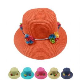 24 Units of Ladies Summer Hat With Flowers - Sun Hats