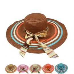 24 Units of Ladies Sun Hat With Colorful Stripe And Bow - Sun Hats