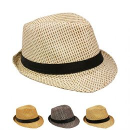 24 Units of Fashion Fedora Hat Assorted Color With Black Band - Fedoras, Driver Caps & Visor
