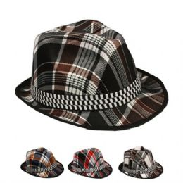 48 Units of Striped Fedora Hats With Checkered Band - Fedoras, Driver Caps & Visor