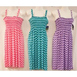 12 Units of Simple Strap Light Chevron Print Dress Assorted Color - Womens Leggings