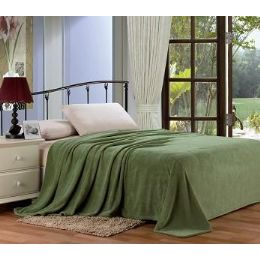 12 Units of Solid Sage Microplush Blanket In Twin - Micro Plush Blankets