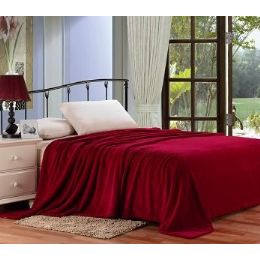 12 Units of Solid Burgundy Microplush Blanket In Queen - Micro Plush Blankets