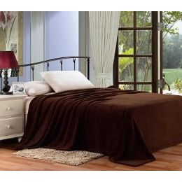 12 Units of Solid Brown Microplush Blanket In King - Micro Plush Blankets