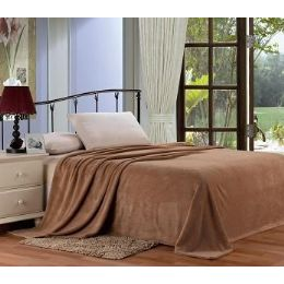 12 Units of Solid Mocha Microplush Blanket In King - Micro Plush Blankets