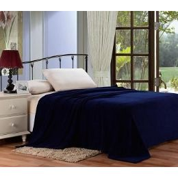 12 Units of Solid Navy Microplush Blanket In King - Micro Plush Blankets