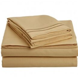 12 Units of 2 Line Embroidery Sheets Set Solid Gold In Microfiber Queen - Sheet Sets