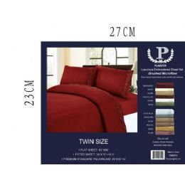 12 Units of Assorted Embroidery Sheet Sets In Burgandy King Size - Sheet Sets