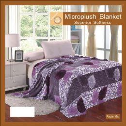 12 Units of Assorted Flower Print Blankets Full Size Purple Mist - Blankets & Bedding
