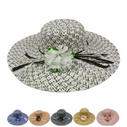 24 Units of Ladies Fashion Sun Hat In Assorted Color With Flower - Sun Hats