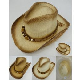 24 Units of Paper Woven Cowboy Hat [Beaded Band] - Cowboy & Boonie Hat