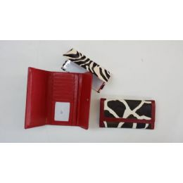 48 Units of Wallets With Check Book Cow Print Design - Leather Purses and Handbags