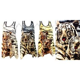 24 Units of Rhinestone Tank Tops/Shirts with Twin Tiger Design - Womens Camisoles & Tank Tops