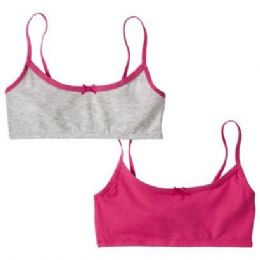72 Units of 2 Pack Hanes Girls Sports Bra On Hanger - Girls Underwear and Pajamas