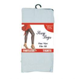 144 Units of Footless Tights One Size White Only (144/cs) - Womens Tights