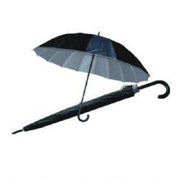 24 Units of Umbrella Long Black Silver Inside HD - Umbrellas & Rain Gear