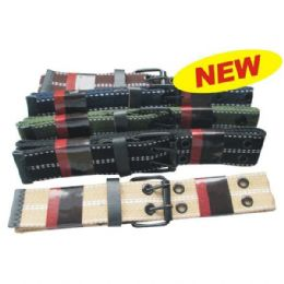 144 Units of CANVAS BELT ASSORTED COLORS &  SIZES - Belt Buckles