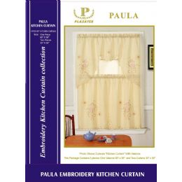 12 Units of Paula Copy Kitchen Curtain 3 Piece Set - Window Curtains