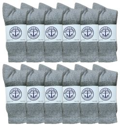 120 Units of Yacht & Smith Junior Boys Cotton Crew Socks Gray Size 9-11 - Boys Crew Sock