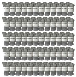 120 Units of Yacht & Smith Kids Premium Cotton Crew Socks Gray Size 6-8 - Boys Crew Sock